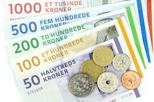 Bild på danska mynt och sedlar