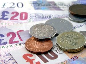 Bild på brittiska mynt och sedlar