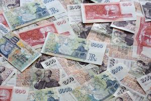 Bild på isländska mynt och sedlar