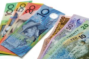 Bild på nyzeeländska dollarsedlar