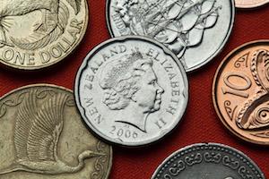 Närbild på nyzeeländska mynt