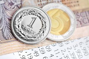 Närbild på polskt zlotymynt