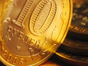 Närbild på ett ryskt rubelmynt