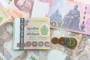 Bild på thailändsk baht, mynt och sedlar
