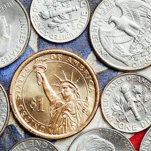 Närbild på ett dollarmynt