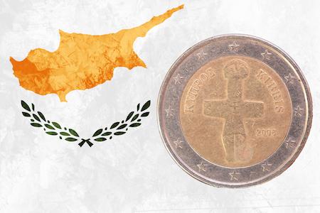 Cypriotiskt 2-euromynt med Pomos-ikonen som motiv