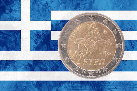 Grekiskt 2-euromynt med Zeus som en tjur som rövar bort jungfrun Europa