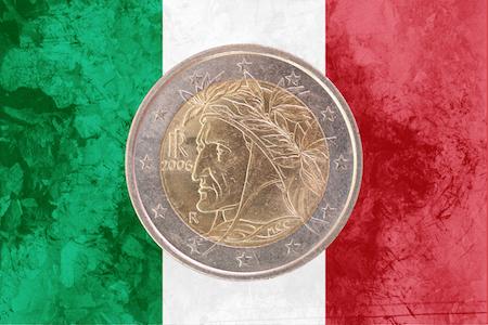 Italienskt 2-euromynt med ett porträtt av Dante av Rafael