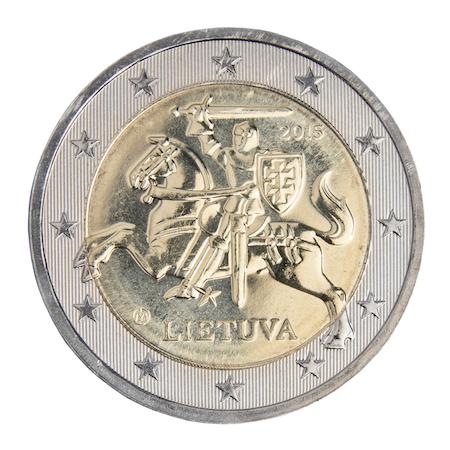 Bild på ett litauiskt 2-euromynt med riddaren Vytis som motiv