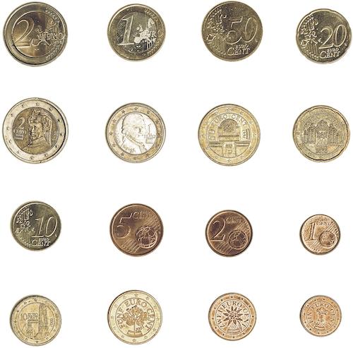 Bild som visar de österrikiska euromynten