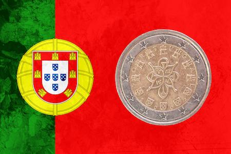 Portugisiskt 2-euromynt med det kungliga sigillet som motiv