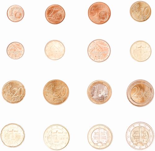 Bild som visar de portugisiska euromynten