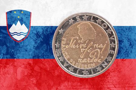 Slovenskt 2-euromynt med France Prešeren som motiv
