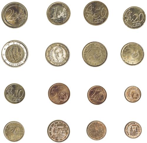 Bild som visar de spanska euromynten