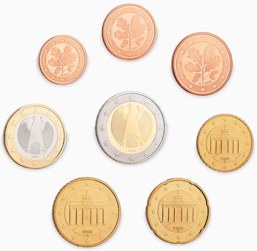 Bild som visar de tyska euromynten