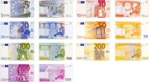 Fram- och baksidan av alla eurosedlar
