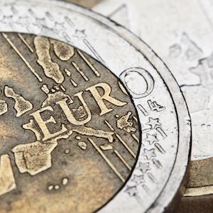 Närbild på ett euromynt