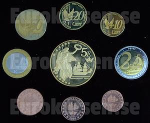 Framsida av svenska euromynt (prov)