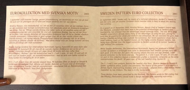 Andra sidan av informationsfoldern som tillhör setet med de svenska provpräglade euromynten